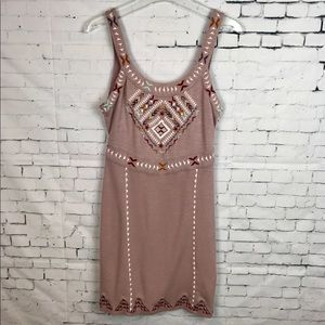 Free People Taupe/Mauve Aztec Fitted Mini Dress